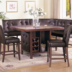 Kitchen Table And Chairs Set With Booth Hanging Indoor Acme Britney 6 Pc Counter Height Dining In Brown