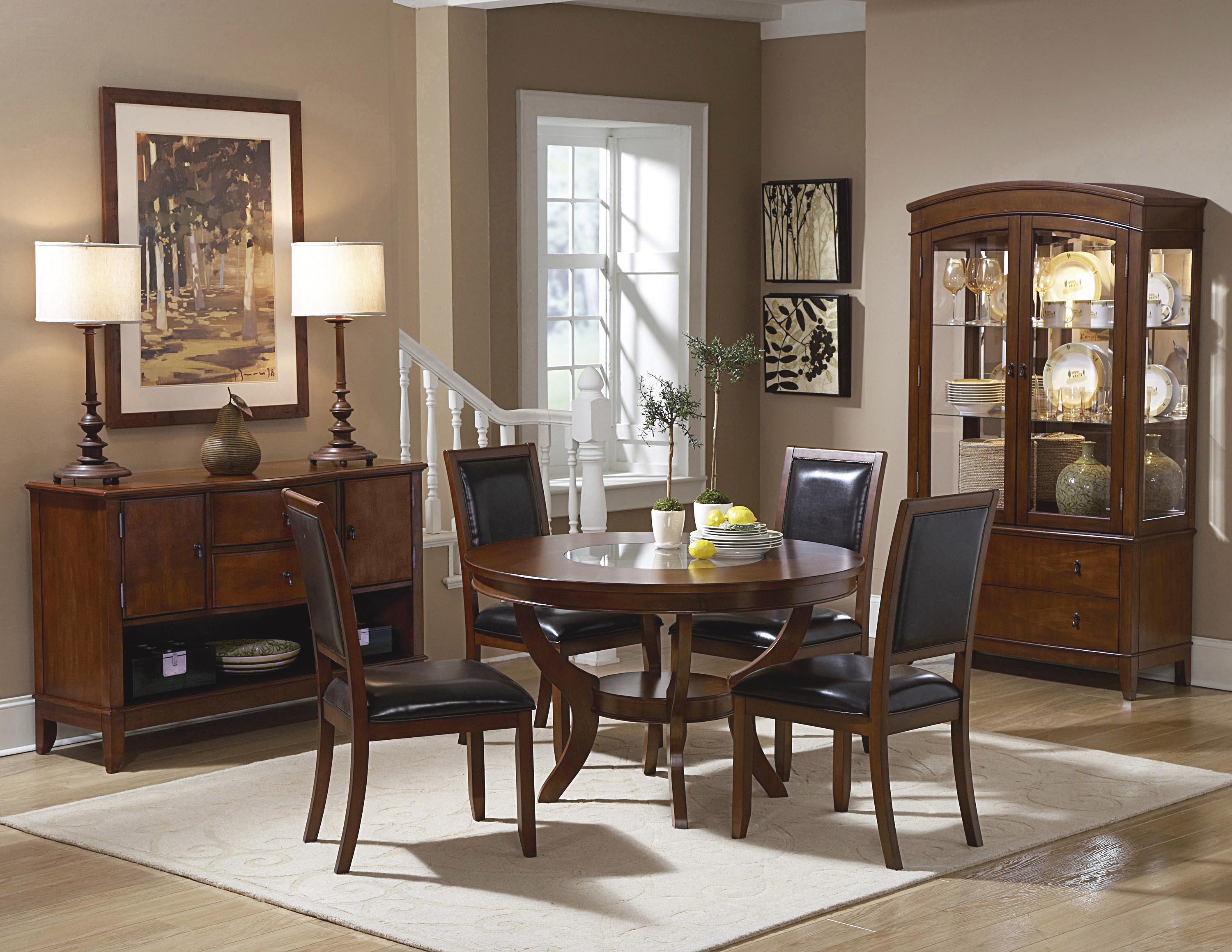 Homelegance Avalon 5pc Round Dining Table Set In Cherry By