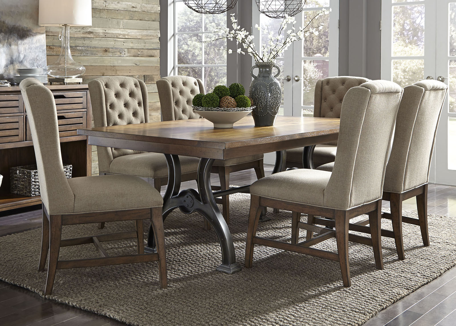 Liberty Furniture Arlington House 7pc Trestle Table Set in