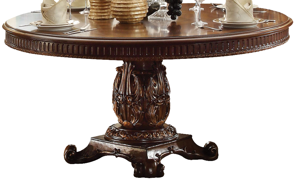 Acme Vendome Single Pedestal Round Dining Table with 72D