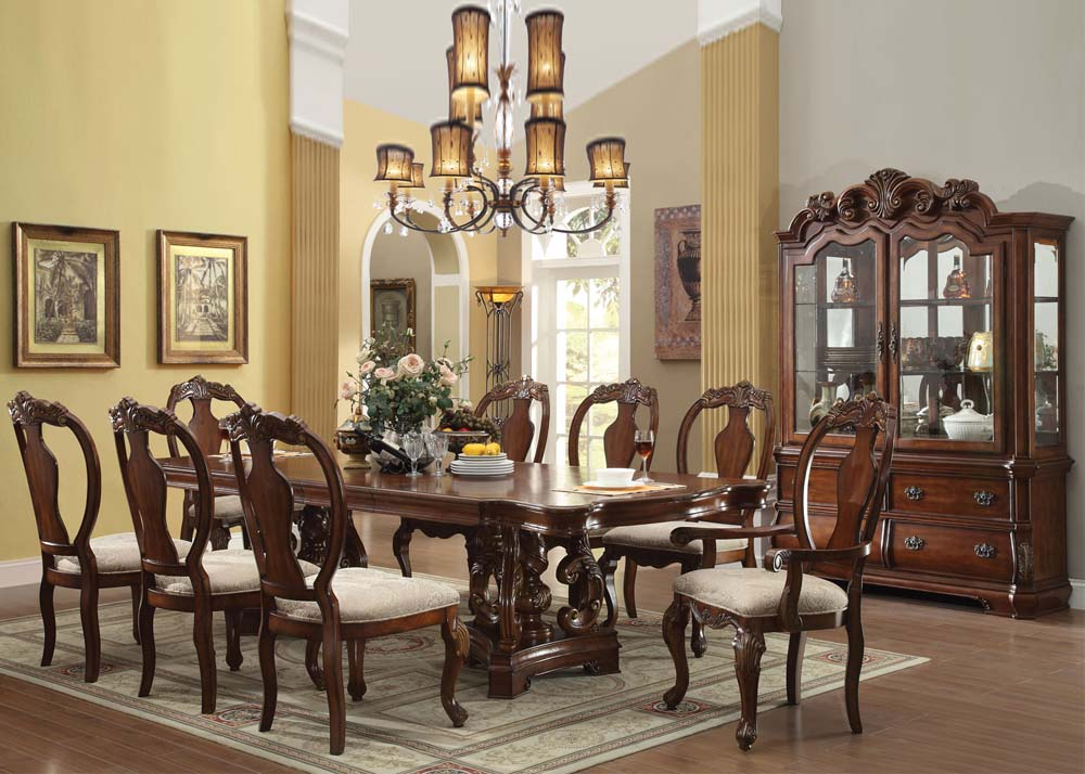 Acme Frederick 9PC Double Pedestal Dining Room Set In