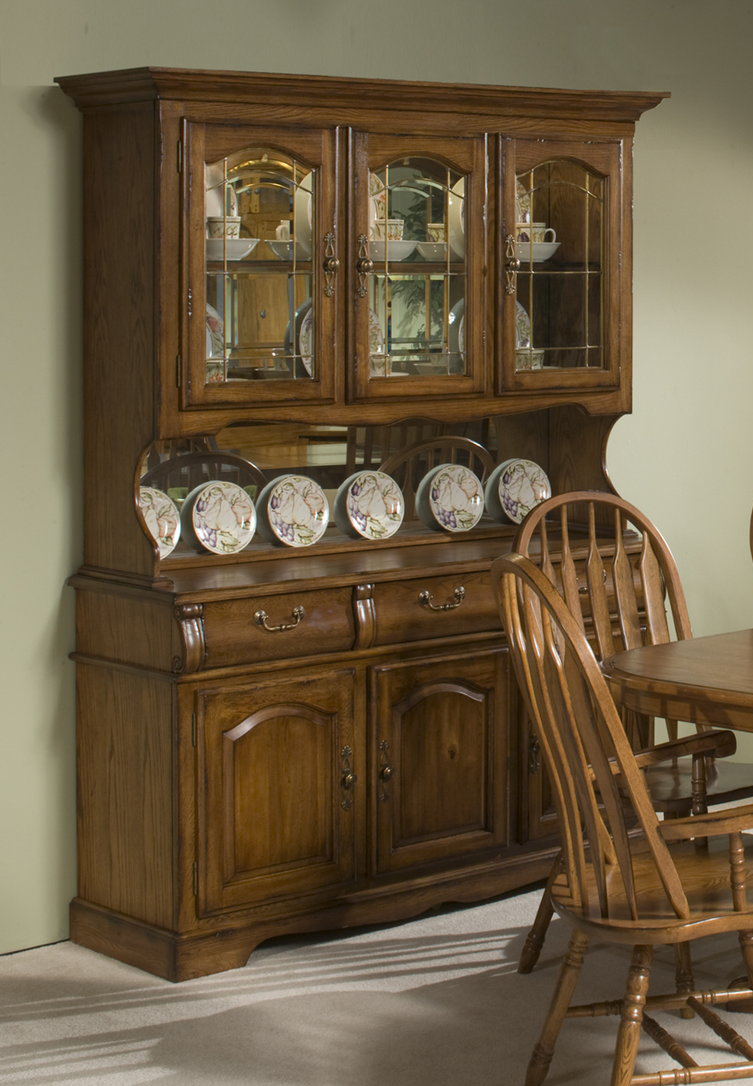 Intercon Furniture Classic Oak 60 China Buffet w hutch in Burnished Rustic by Dining Rooms Outlet