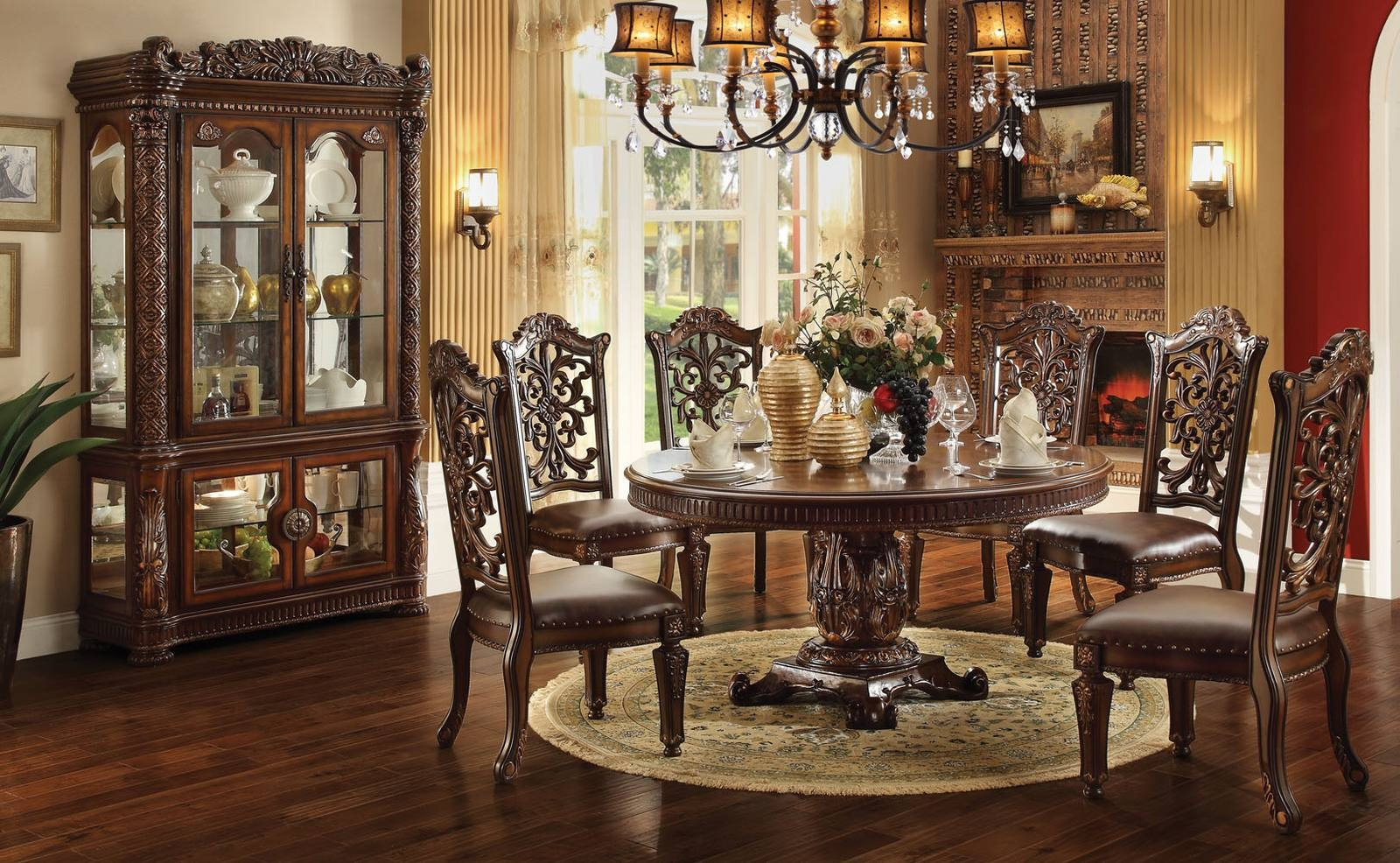 Acme Vendome 7PC Single Pedestal Round Dining Room Set In