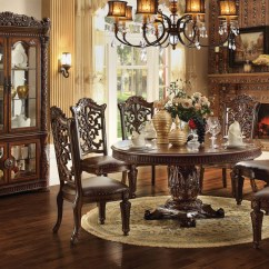 Lexington Sofa Table Distressed Leather Grey Acme Vendome 7pc Single Pedestal Round Dining Room Set In ...