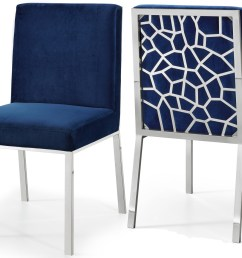 meridian opal velvet dining chair in navy set of 2 736navy c by dining rooms outlet [ 1562 x 1200 Pixel ]