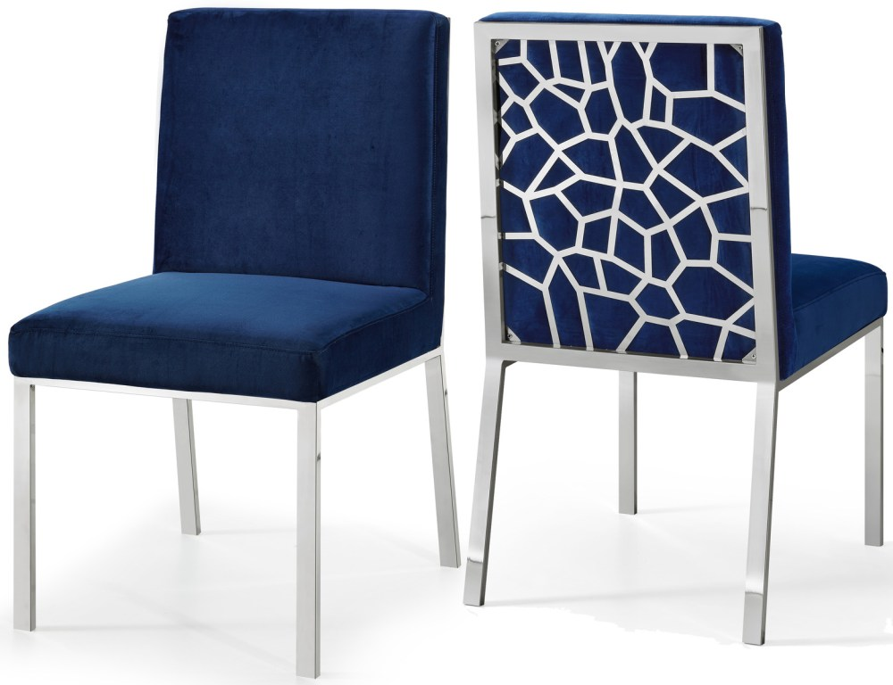 medium resolution of meridian opal velvet dining chair in navy set of 2 736navy c by dining rooms outlet