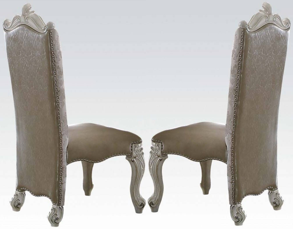 Acme Versailles Side Chair in Vintage Gray PUFabric