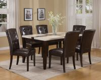Acme Justin White Faux Marble Top Dining Table Set in ...