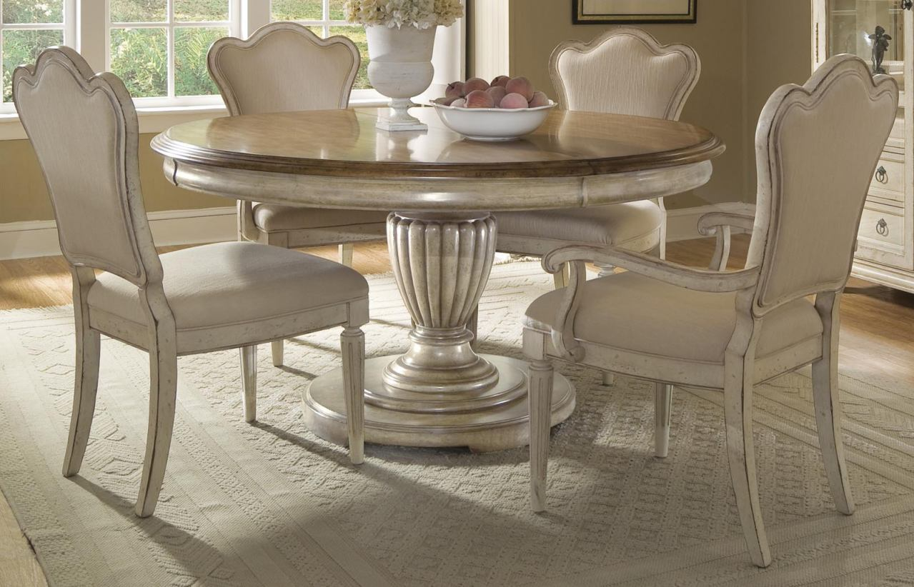 white distressed dining chairs teal room chair covers a r t provenance 5 pc round set by rooms outlet