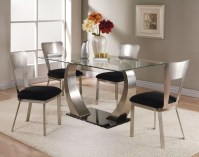 Acme Camille 5 pc Glass Top Metal Base Rectangular Dining