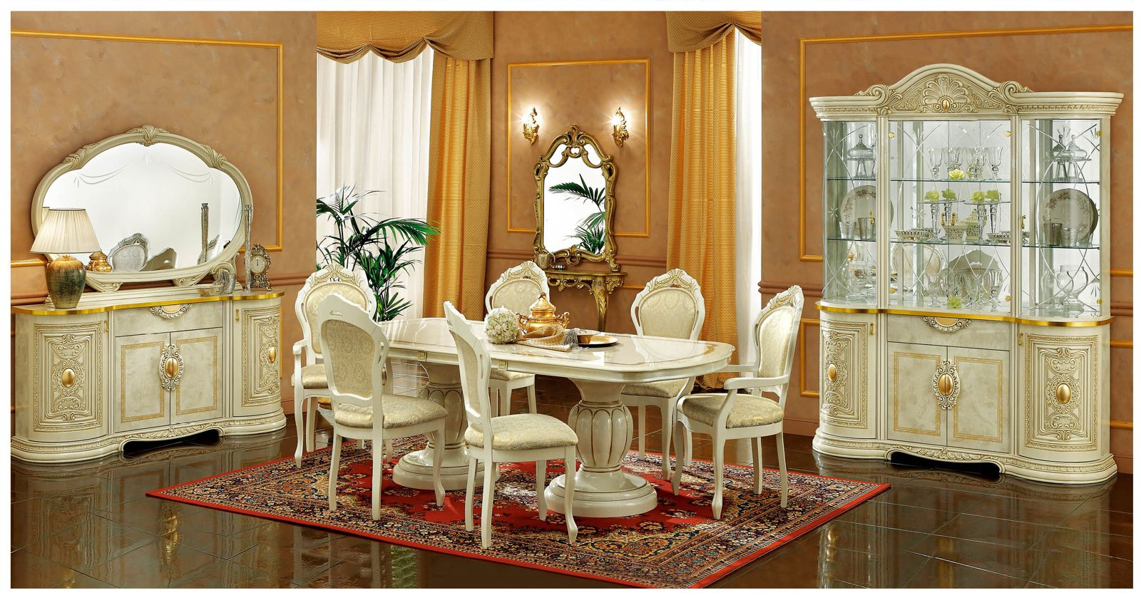 ESF Furniture Leonardo 7pc Dining Table Set In Ivory By