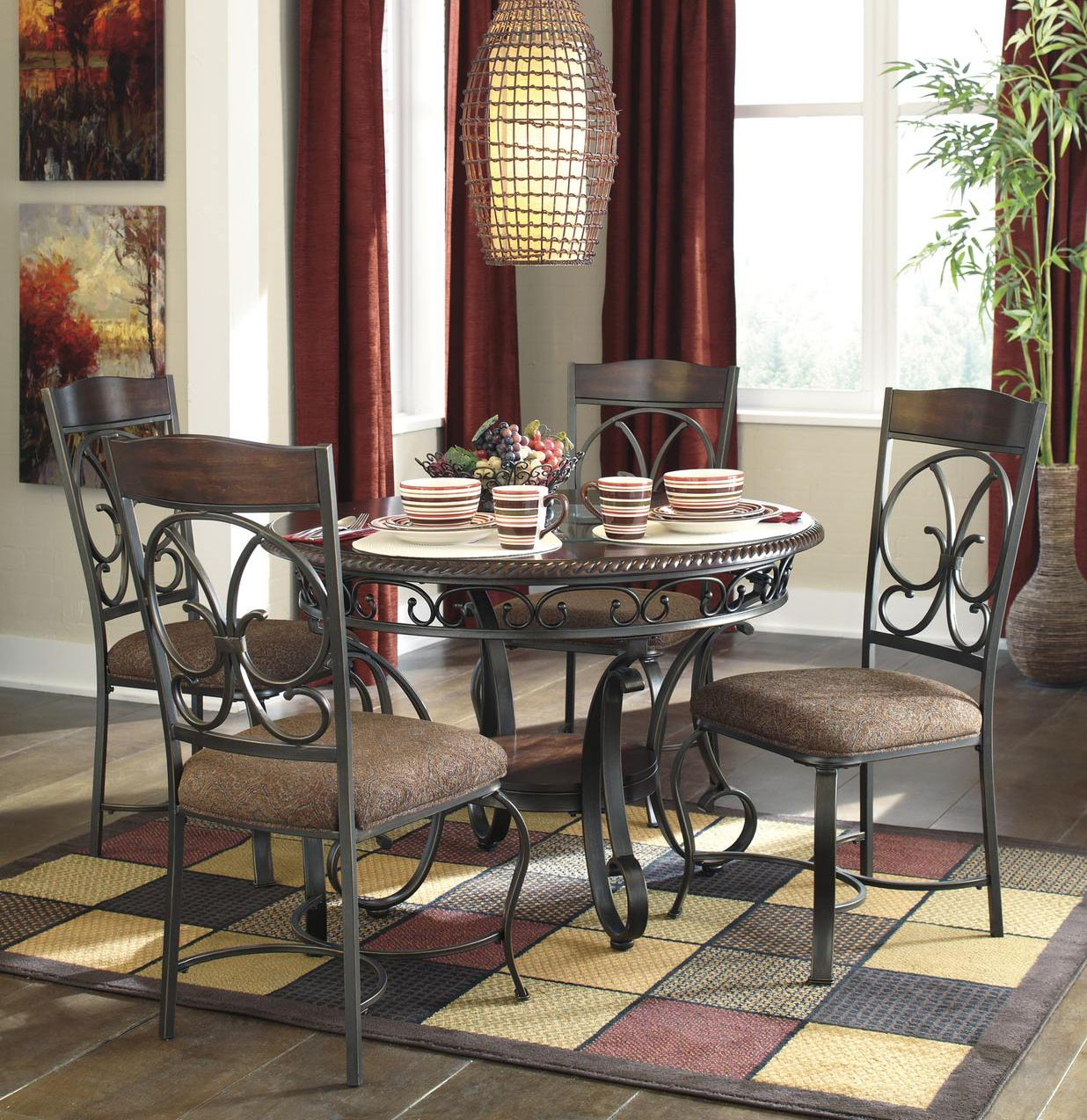 Glambrey 5pc Round Dining Room Set in Brown by Dining Rooms Outlet