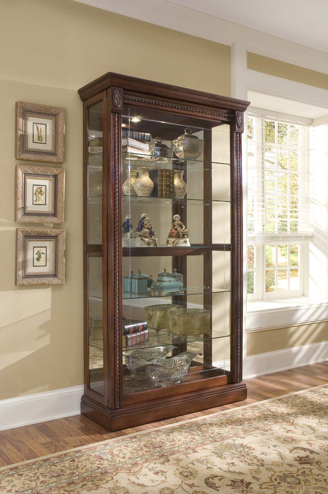 Pulaski Medallion Cherry Two Way Sliding Door Curio By