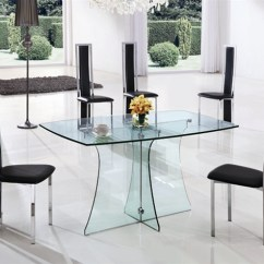 Kitchen Glass Table White Leather Chairs Serene Large