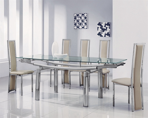 delta mega extending glass dining table, glass dining
