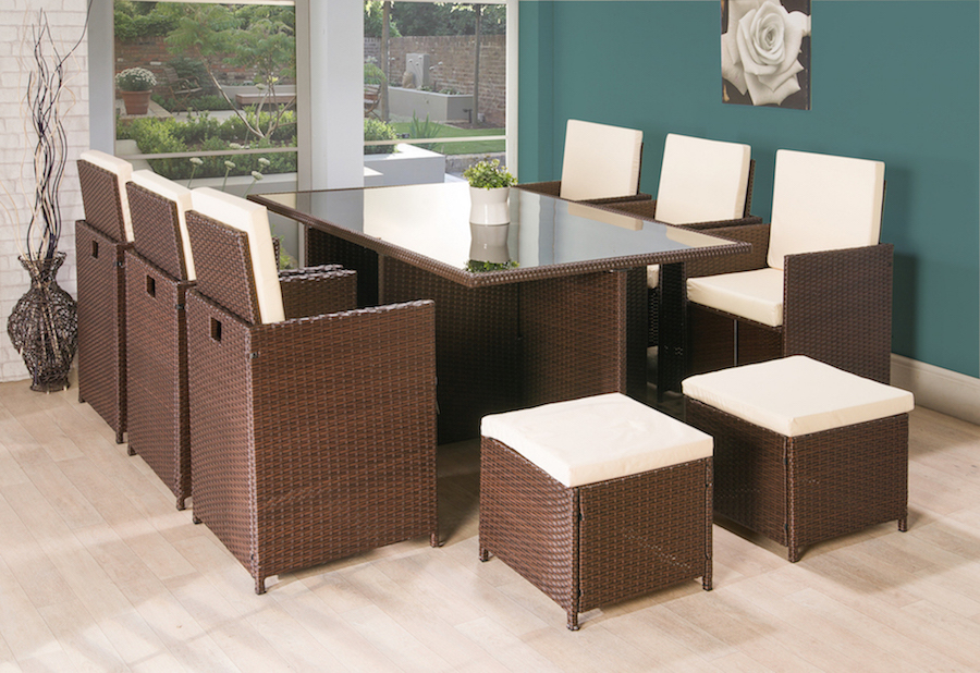 rattan garden dining chairs uk bathtub sitting chair for baby 11pc cube furniture brown
