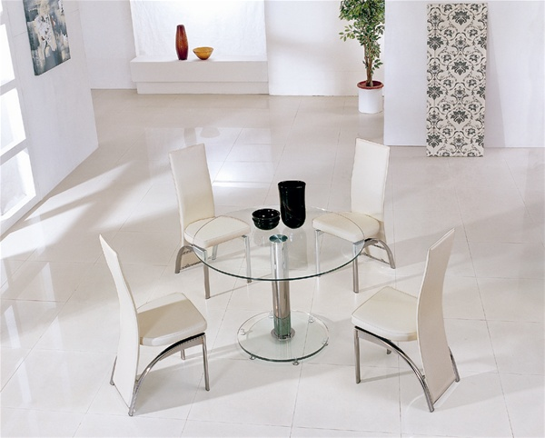 Mini Round Vo1 Ice Glass Dining Table Glass Dining Table And Chairs Glass Dining Set