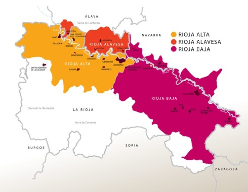 Rioja Wine Pairings. A Map of the Rioja Region of Spain