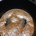 The roux. I have learned to make my roux darker than this, but it takes practice.