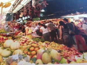 Fruits and vegetables in outdoor market