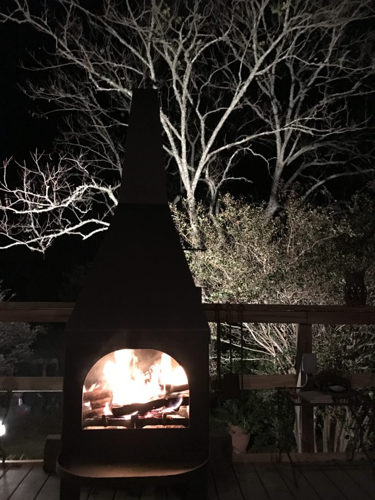 Fire Pit loaded with wood