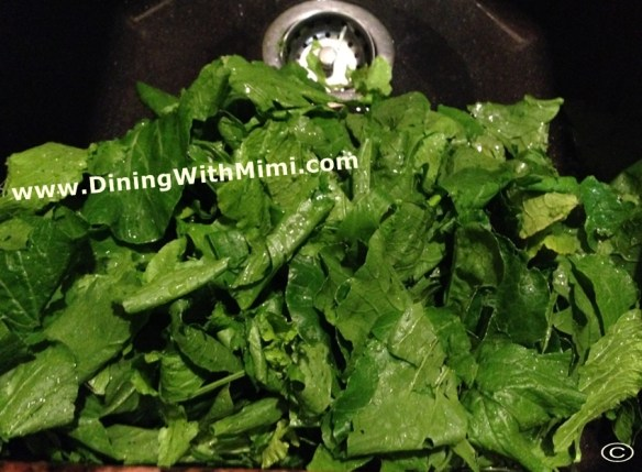 Fresh Turnip Greens in sink www.diningwithmimi.com