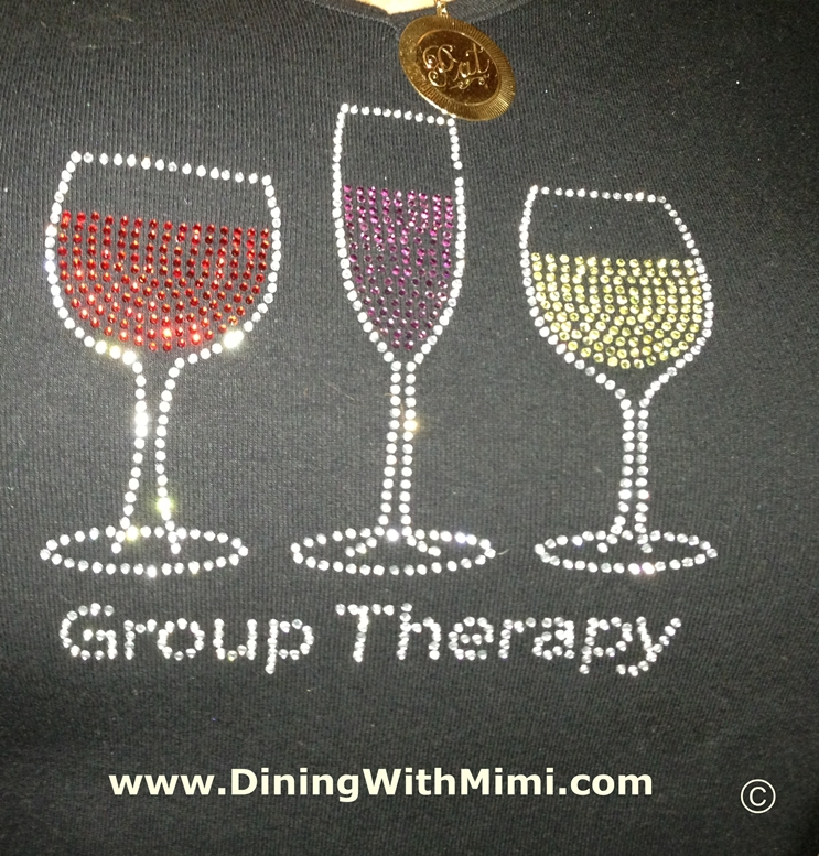 Tshirt with wine choices for therapy Six Film Festival, Food and Friends Tips www.diningwithmimi.com