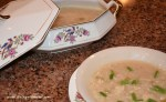 Vintage dishes filled with Cauliflower Comfort Soup- Heals What Ails Ya' www.diningwithmimi.com