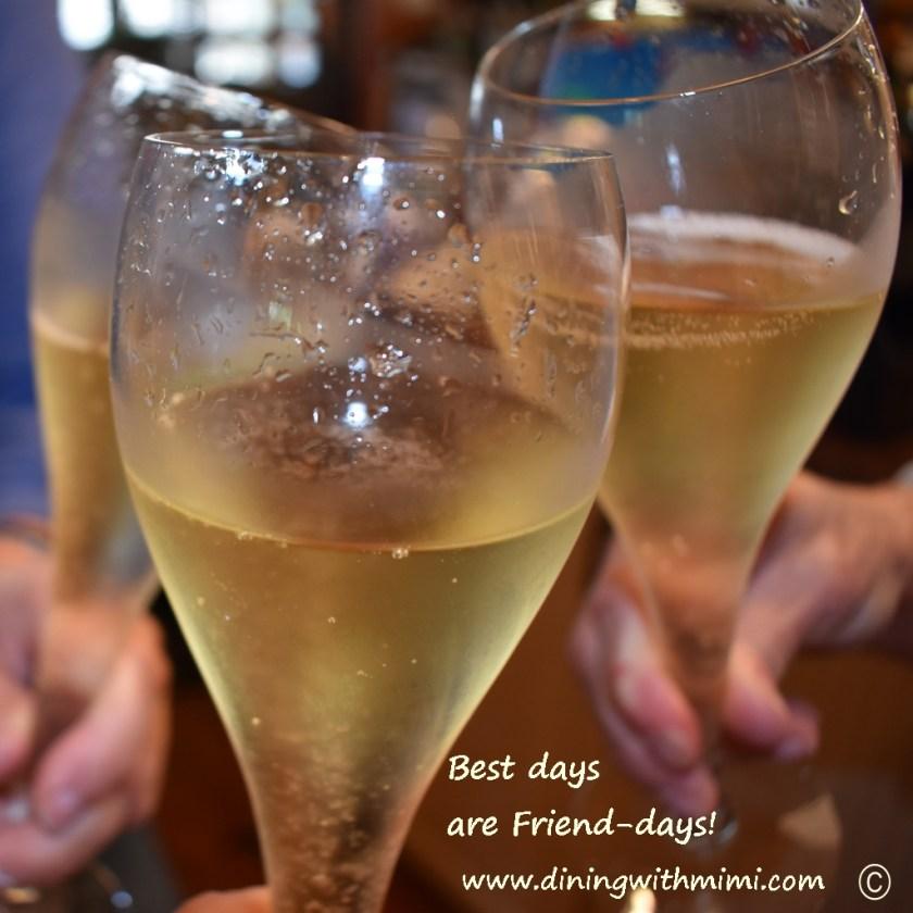 Trio of champagne glasses Never Fail Spirited Fig Pecan Bundt Cake www.diningwithmimi.com