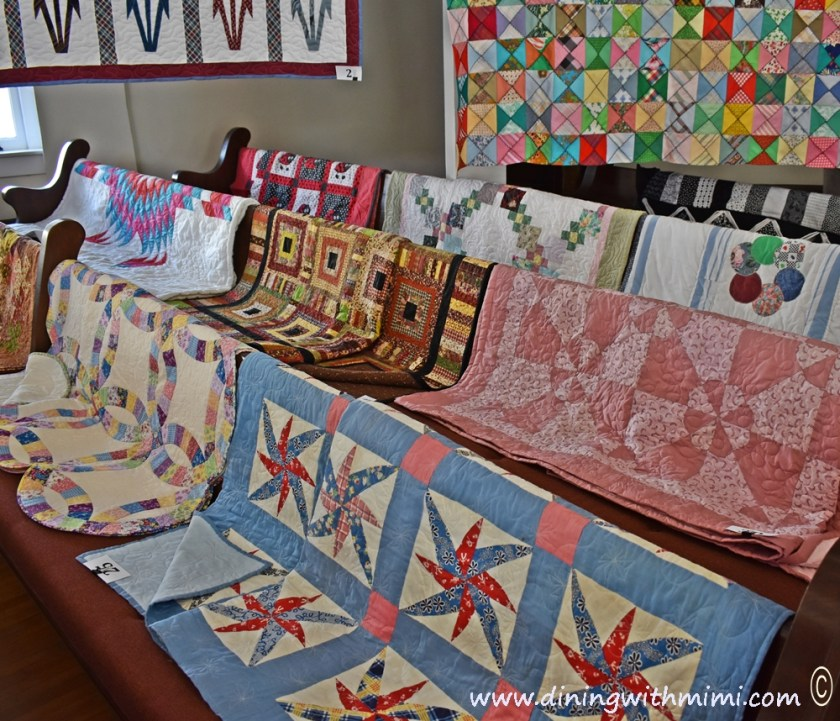 Quilts on display in Courthouse Rural Alabama Trip to Inspire www.diningwithmimi.com