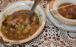 Vintage Occupied Japan dishes filled with Save a Ham Bone, Feed a Cowboy Soup Recipe www.diningwithmimi.com