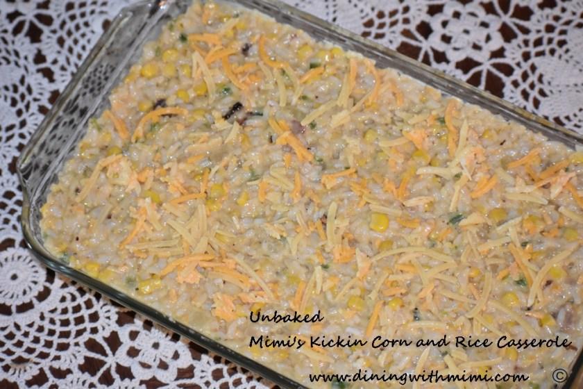 Unbaked Casserole of Mimi's Kickin Corn and Rice Casserole www.diningwithmimi.com