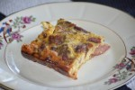Frittata served on Vintage dishes Busy Moms Beckon The Bacon Frittata Recipe www.diningwithmimi.com