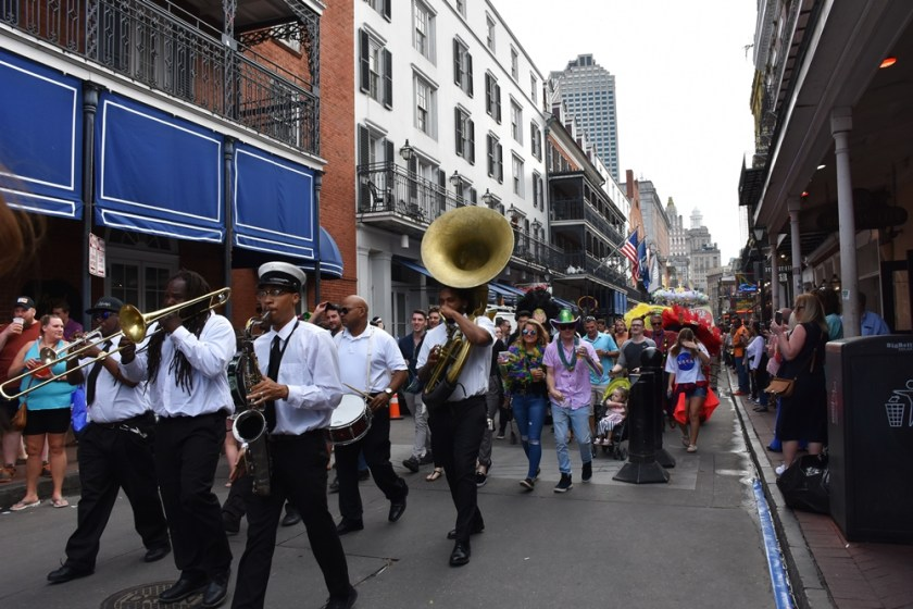 NOLA Brass Band playing on Bourbon Streeet Need a quickie-Drop into New Orleans for 48 hours www.diningwithmimi.com