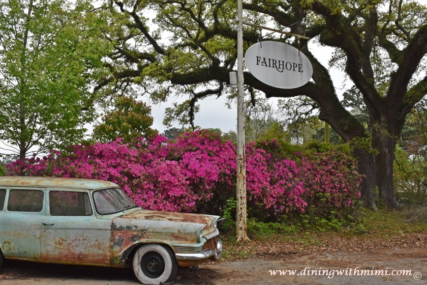 Fairhope Sign is full glory with azaleas blooming www.diningwithmimi.com