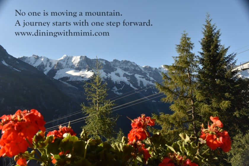 Snow capped Swiss Alps with red flowers blooming for January 2020 Hoda Wan Kenobi www.diningwithmimi.com