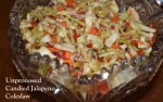 Antique bowl of Unprocessed Candied Jalapeno Coleslaw www.diningwithmimi.com