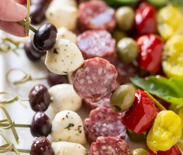 These Antipasto Kabobs Are An Assortment Of Italian Meats Cheeses Olives And Vegetables Threaded