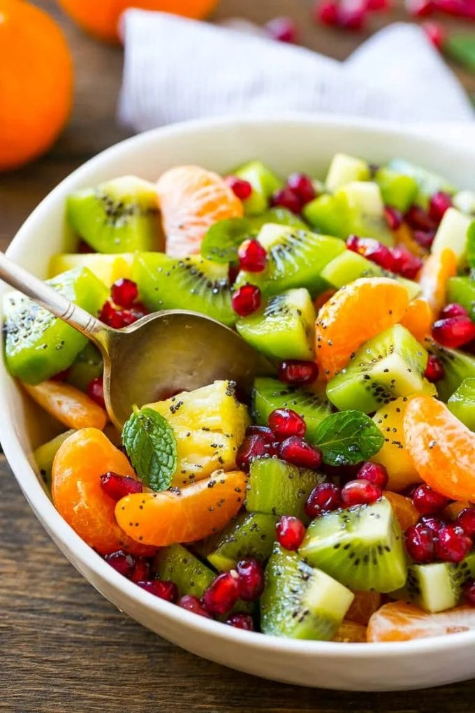 This winter fruit salad is tossed in a honey poppy seed dressing.
