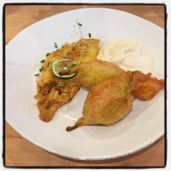 squash blossoms with fish and cauliflower