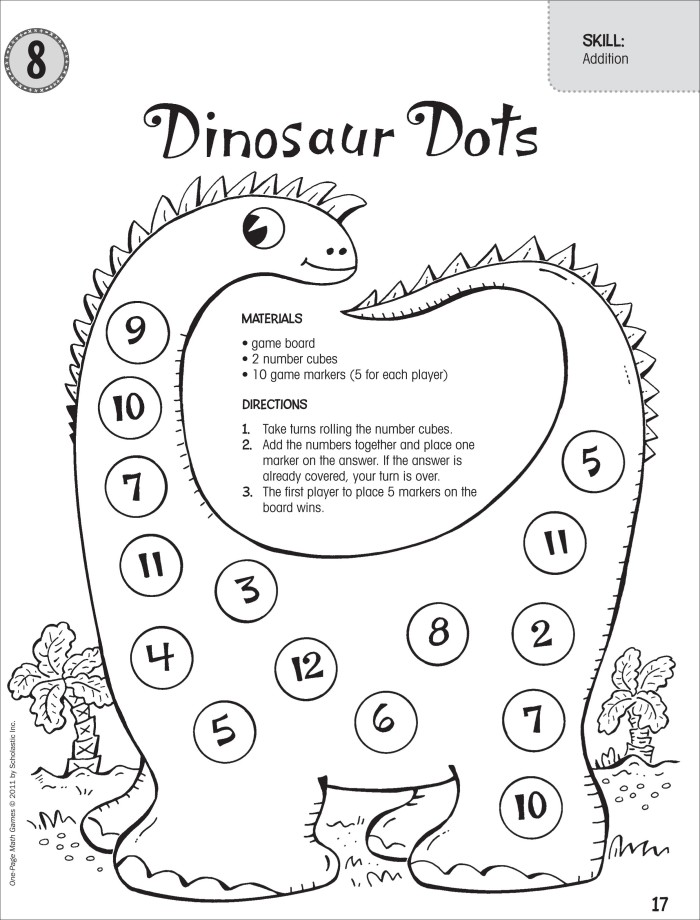 Dinosaur Numeracy Worksheets Preschool Printable. Dinosaur