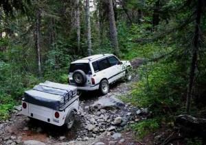 Dinoot Jeep Trailers Jeep Style Dinoot Trailer on four wheel trail off road lightweight fiberglass tub kit