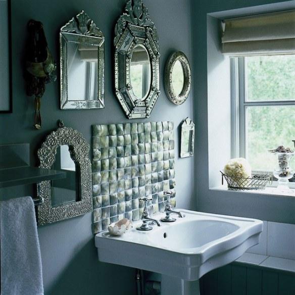 baño vintage nacar espejo