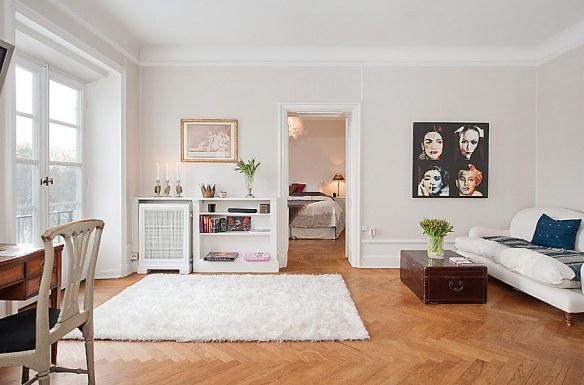 decoración salón madera y blanco nórdico