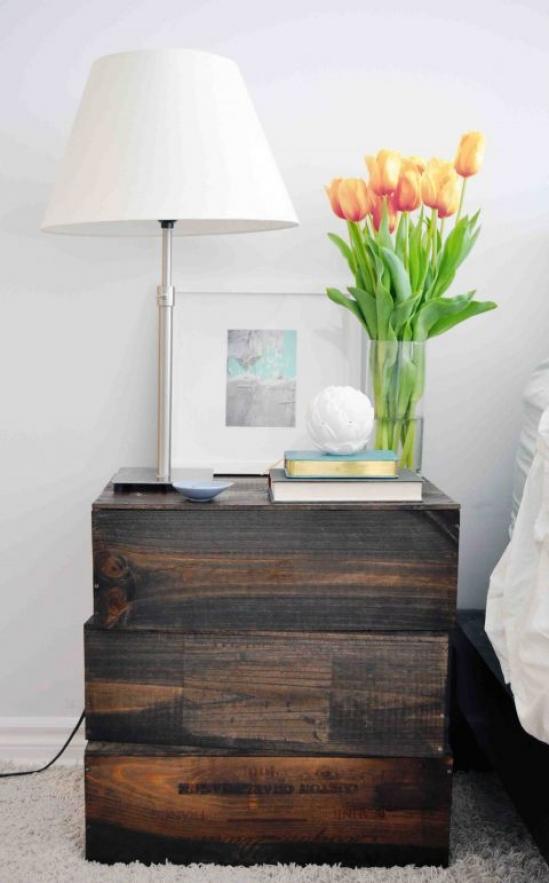 DIY Cajas de madera-mesa auxiliar