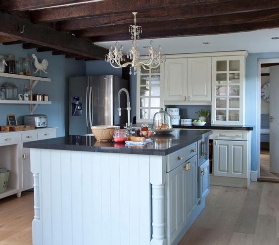 decorar azul cocina isla