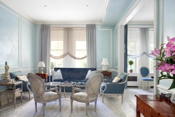 decorar azul salon