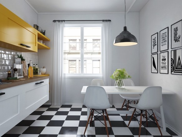 chequered-floor-kitchen-mustard-cabinetry