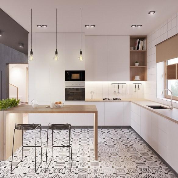 eclectic-kitchen-drop-lighting-honeycomb-tiling