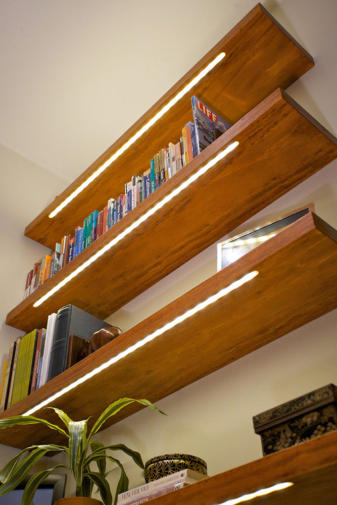 nearly invisible shelf lighting diode led